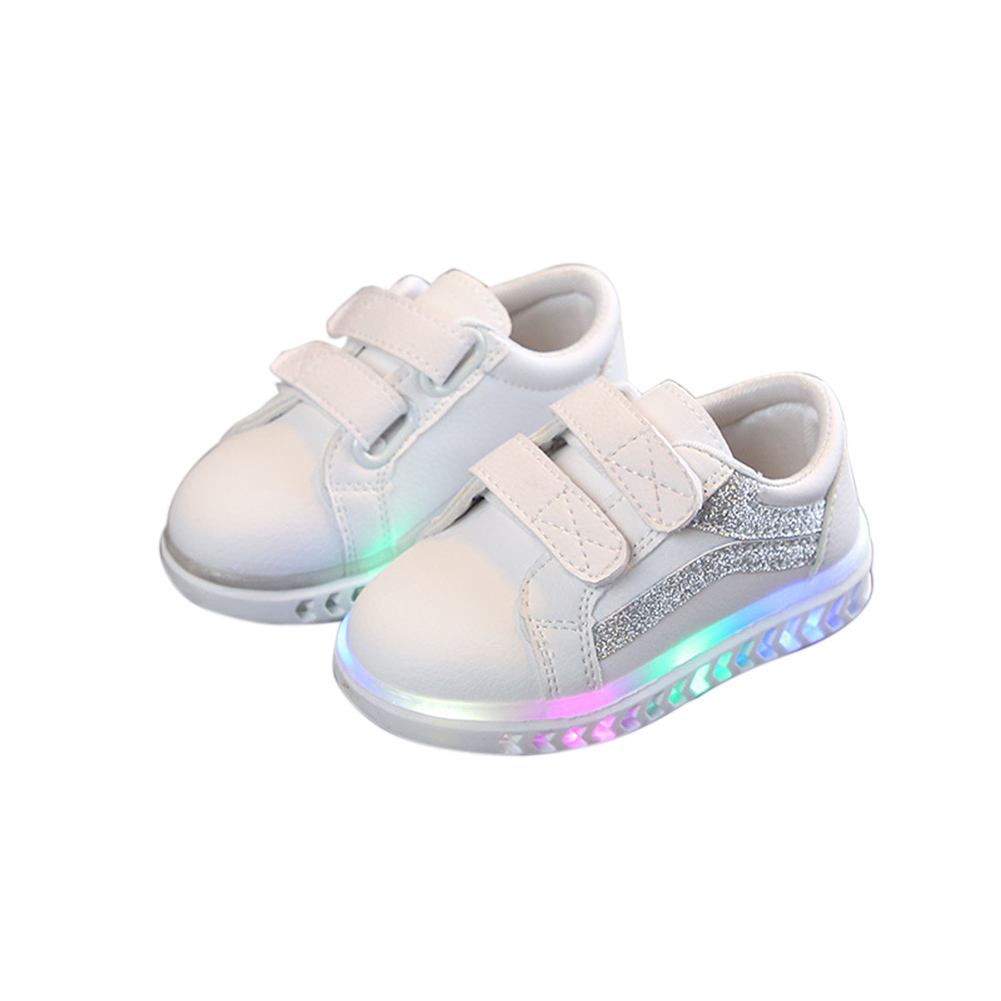 Children Leisure White Sports Soft Bottom Shoes with LED lights for Boys and Girls Silver_30#  18 cm
