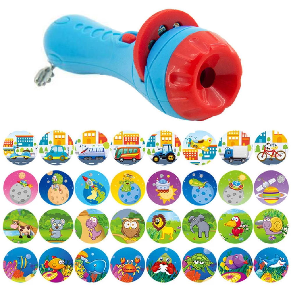 Baby Sleeping Story Flashlight Projector Lamp Toys Early Education Toy for Kid Holiday Birthday Xmas Gift blue