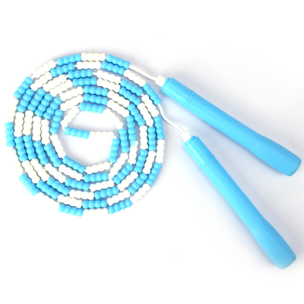 Jump Rope Plastic Beaded Segmented Training Workout Skipping Rope blue