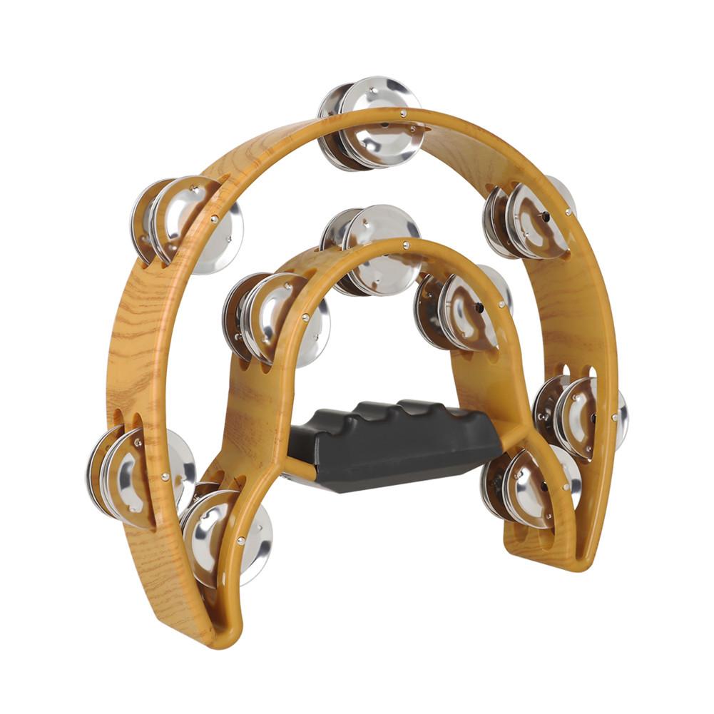 Compact Music Tambourine Double Half Moon Design ABS Handbell Percussion Tamborine Drum Wood color