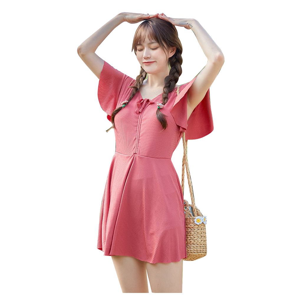 Women Swimsuit Solid Color One-piece Skirt Type High-waist Slimming Swimsuit West Red_L