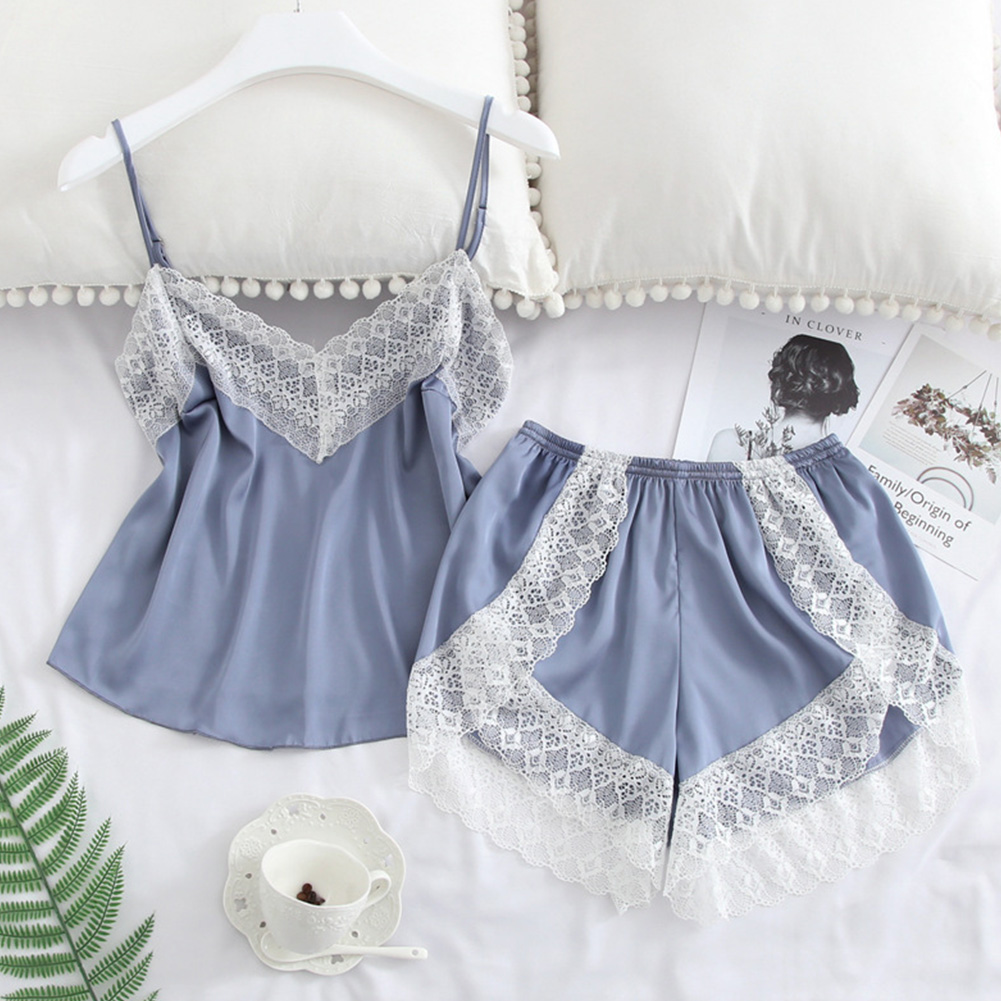 2 pcs/set Women's Sleepwear Sexy Satin Lace V-neck Pyjama Suit Sleeveless Camisole Top + Shorts Light blue_L