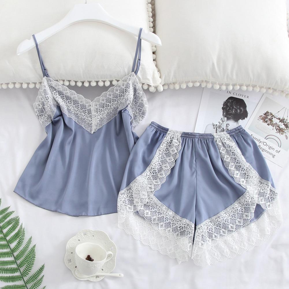 2 pcs/set Women's Sleepwear Sexy Satin Lace V-neck Pyjama Suit Sleeveless Camisole Top + Shorts Light blue_M