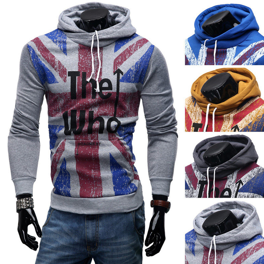 Men Streetwear Letter Printed Long Sleeve Men Sweatshirts Hooded light grey_M