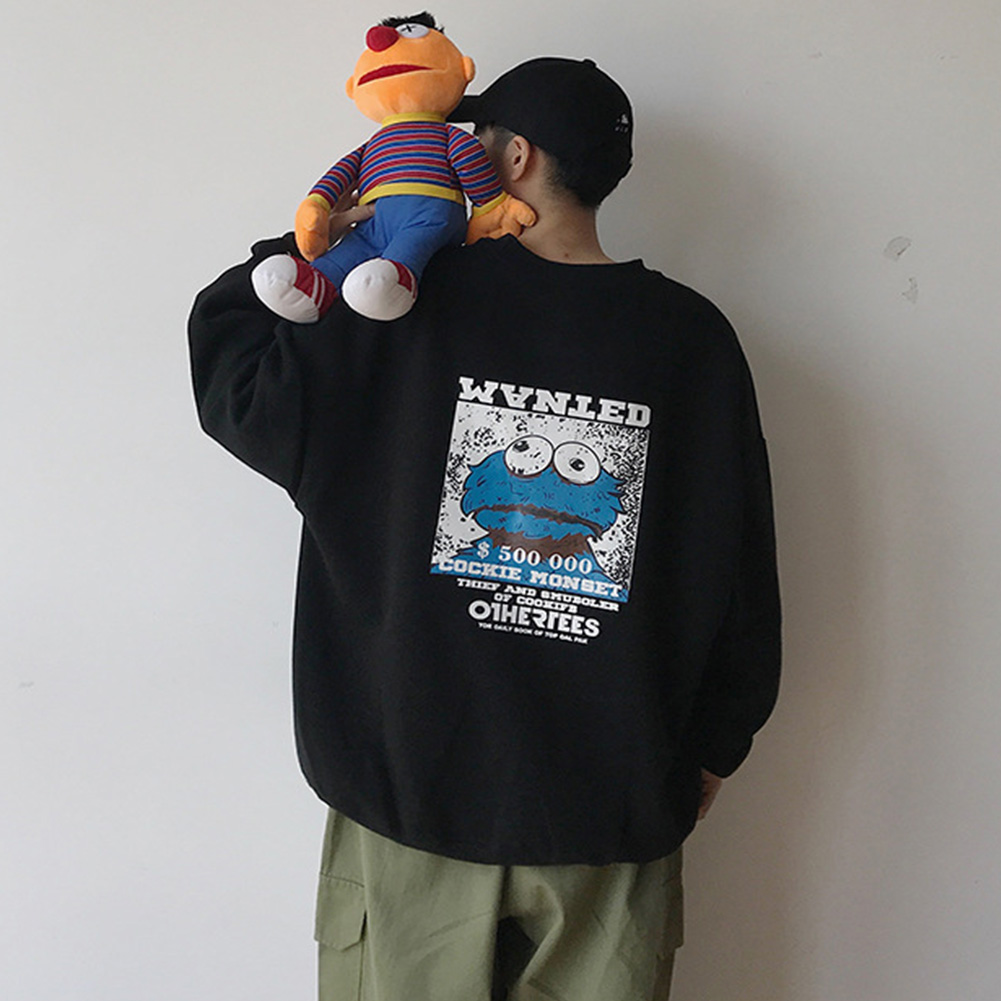 Men Women Sweatshirt KAWS Wanted Crew Neck Printing Loose Fashion Pullover Tops Black_L