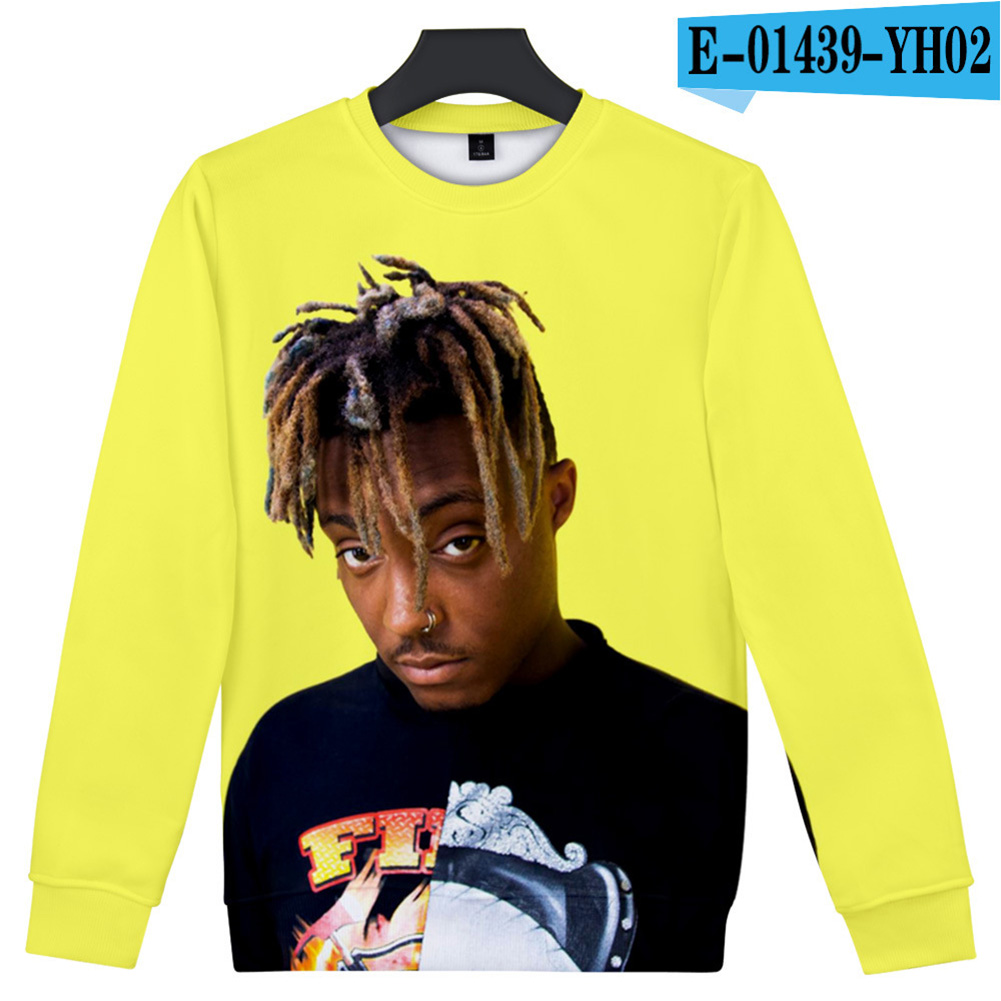 Men Women Sweatshirt JUICE WRLD Head Portrait Printing Crew Neck Unisex Loose Pullover Tops Yellow_XXL