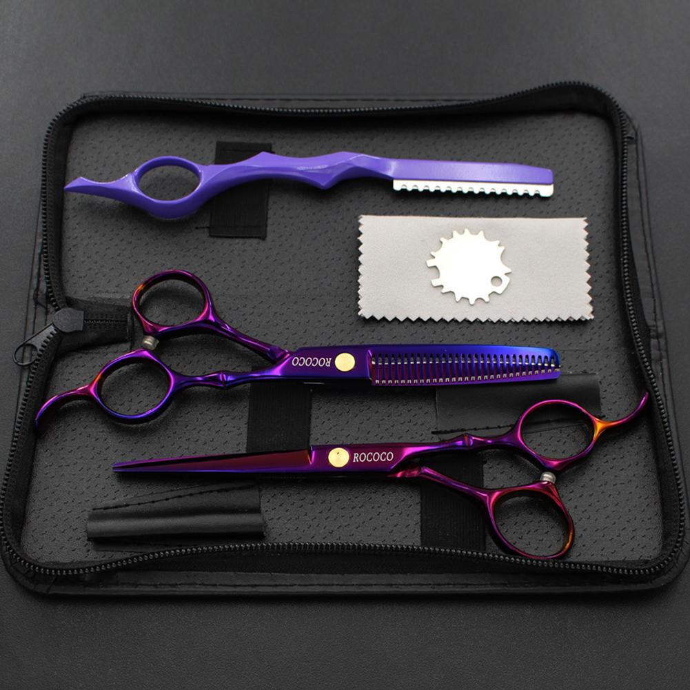 Professional Hair Cutting Scissor Hair Scissors Hairdressing Scissors Kit Hair Straight Thinning Scissors Barber Salon purple
