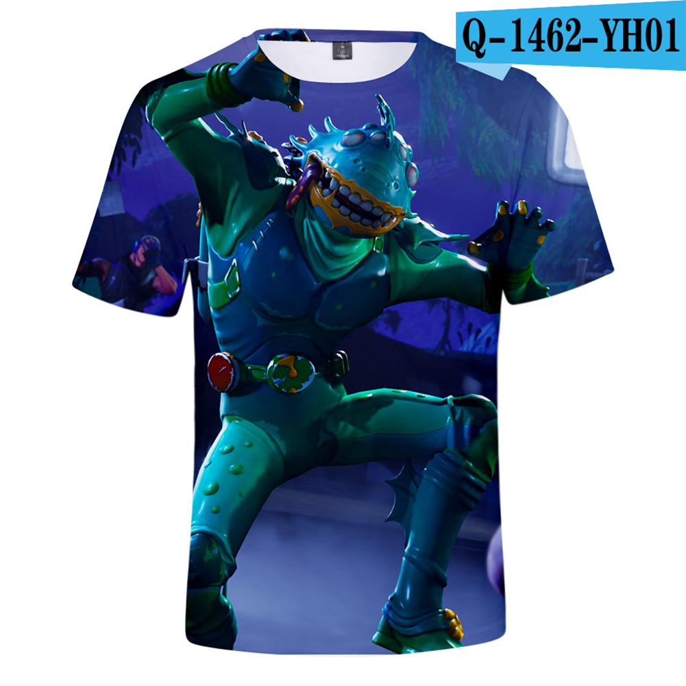 Casual 3D Cartoon Pattern Round Neck T-shirt Picture color AB_XS