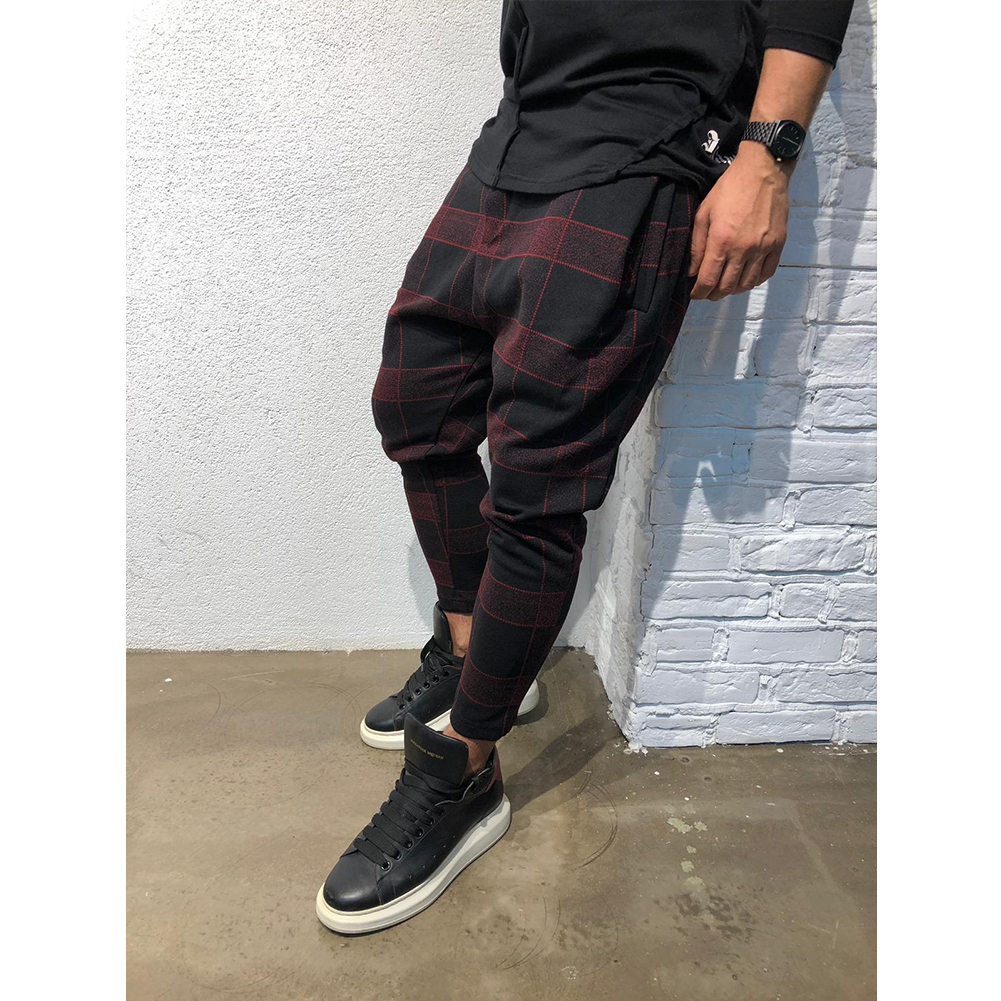 Men Casual Trousers Tight Trousers Foot Loose Long Pants  Red wine_M