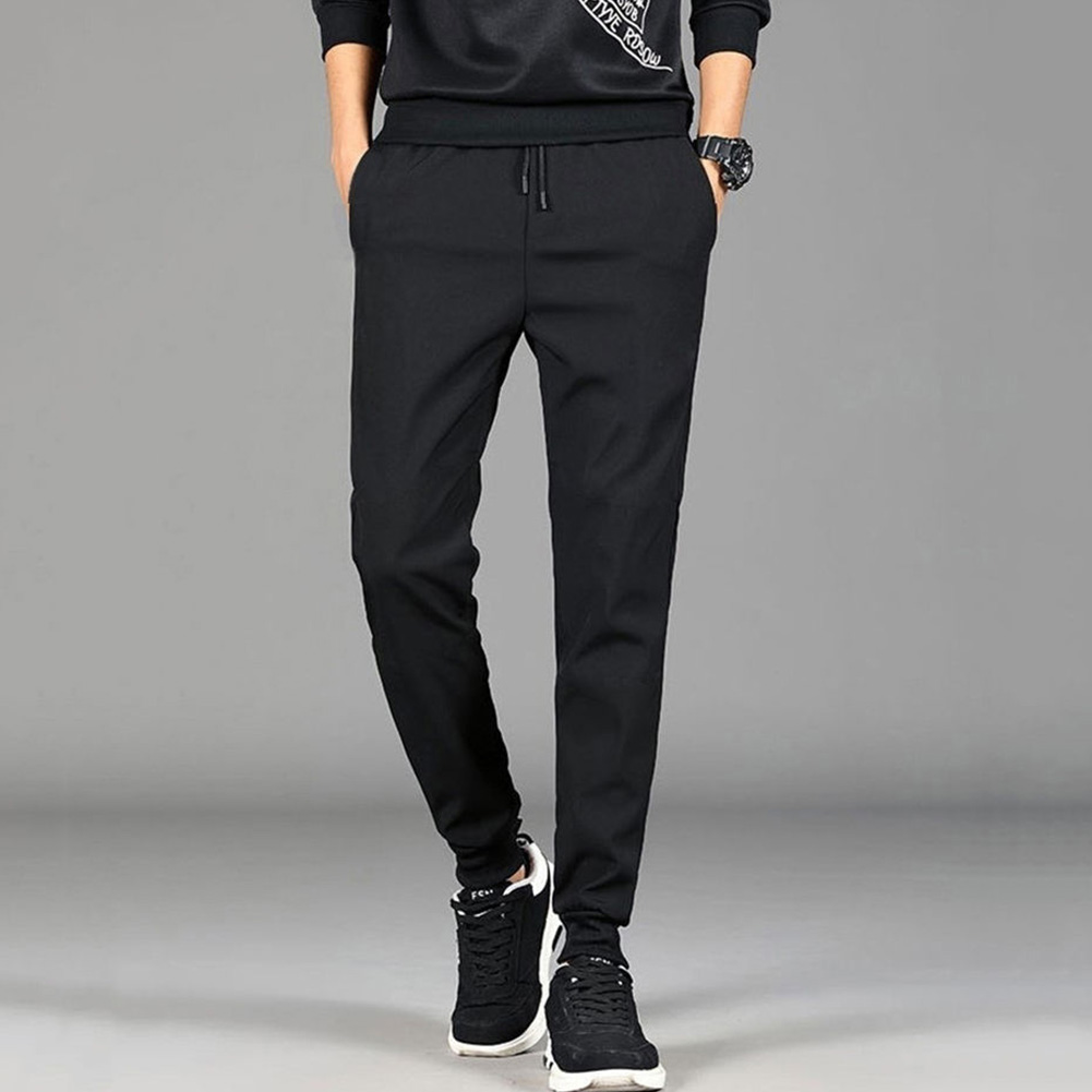 Men Spring And Summer Thin Casual Slim Harem Pants Drawstring Trousers pure black_L
