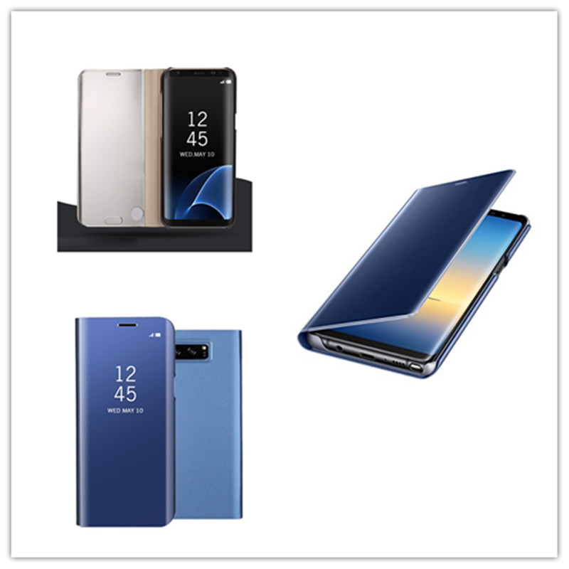 Fashion Shockproof  Ultra Thin Electroplating PU Case Cover Mirror Free Flip Anti-scratch Protective Case for Samsung Galaxy Note 8 Sky blue