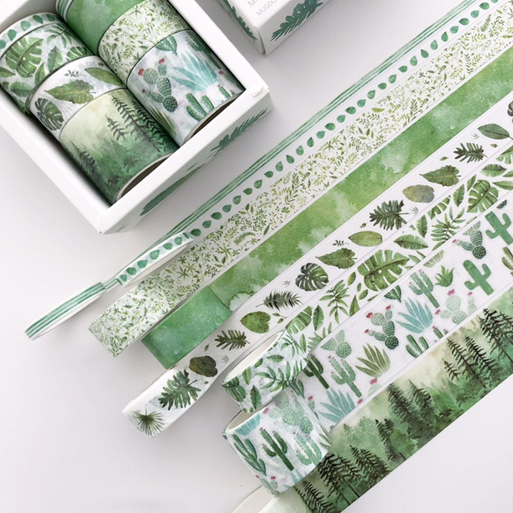 8pcs/pack Paper  Tape 3m/roll Decorative Tapes For Diy Notebook Journal Green dye
