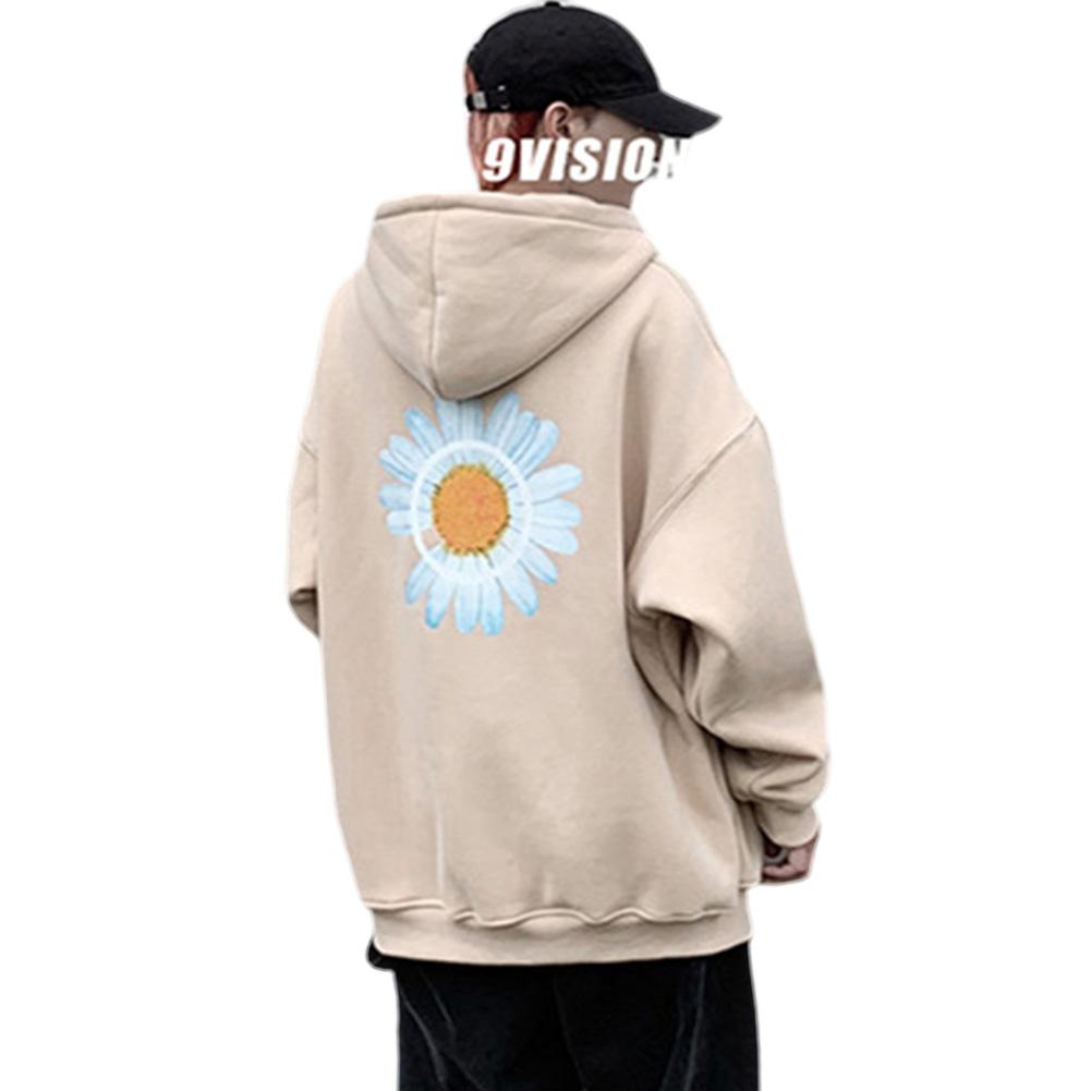 Men Women Hoodie Sweatshirt Chrysanthemum Printing Simple Unisex Pullover Tops Apricot_L