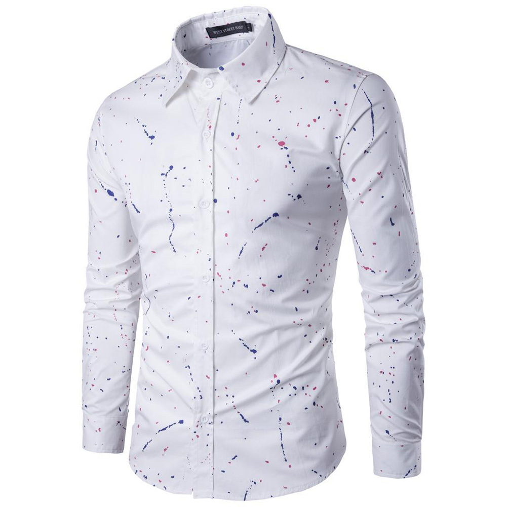 Man Single-breasted Leisure Shirt Long Sleeves and Lapel Cardigan Top with Floral Printed white_M
