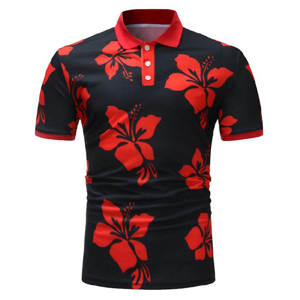 Men Fashion Printing Large Size Casual Lapel Short Sleeves Shirt Black red_2XL