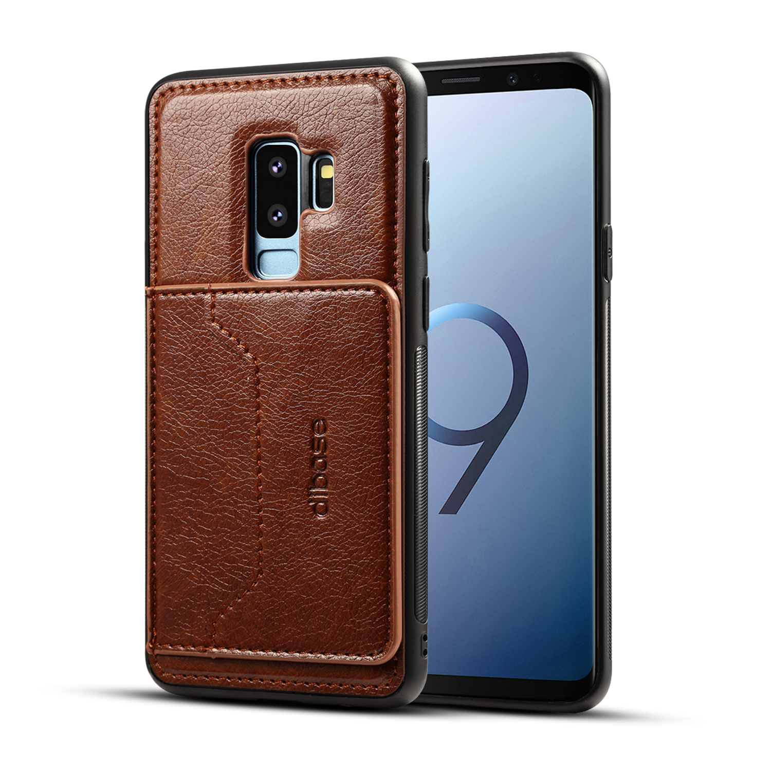 For Samsung S9 plus Retro PU Leather Wallet Card Holder Stand Non-slip Shockproof Cell Phone Case coffee