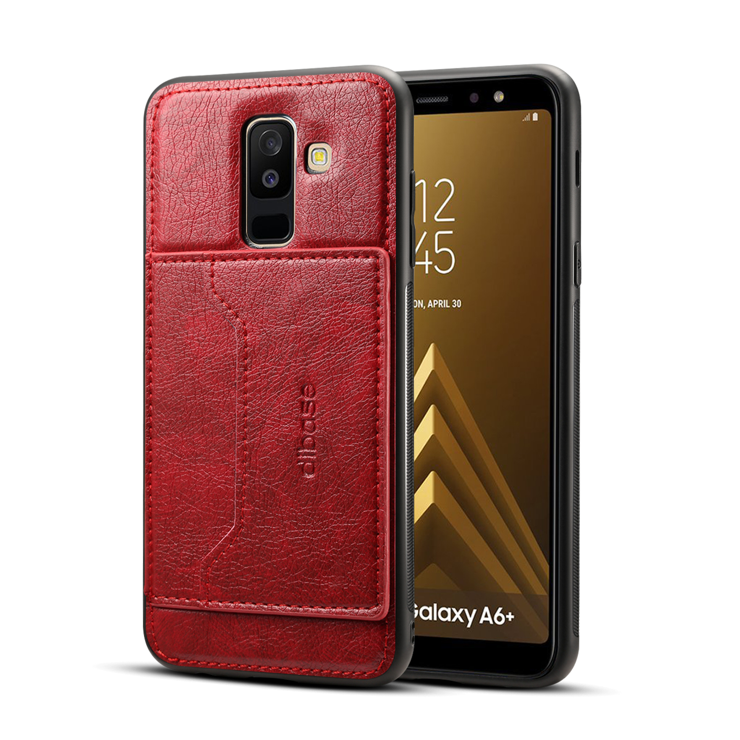 For Samsung A6 Plus 2018 Phone Holder Protective Cover with Card Pocket  red