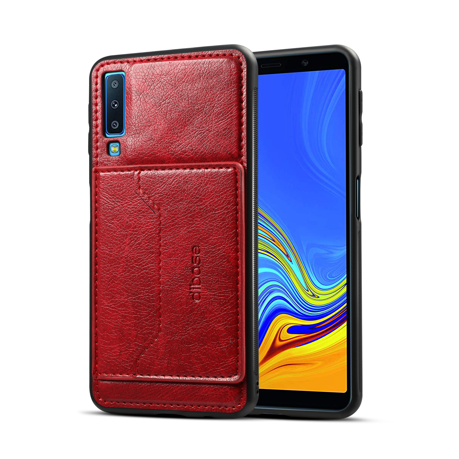 for Samsung A7 2018 Solid Color PU Phone Holder Phone Case red