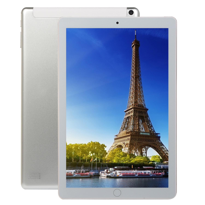 10.1 inch 8+128GB 4G-LTE Tablet PC IPS HD Screen Dual Card Phone Call Tablet PC Silver EU plug