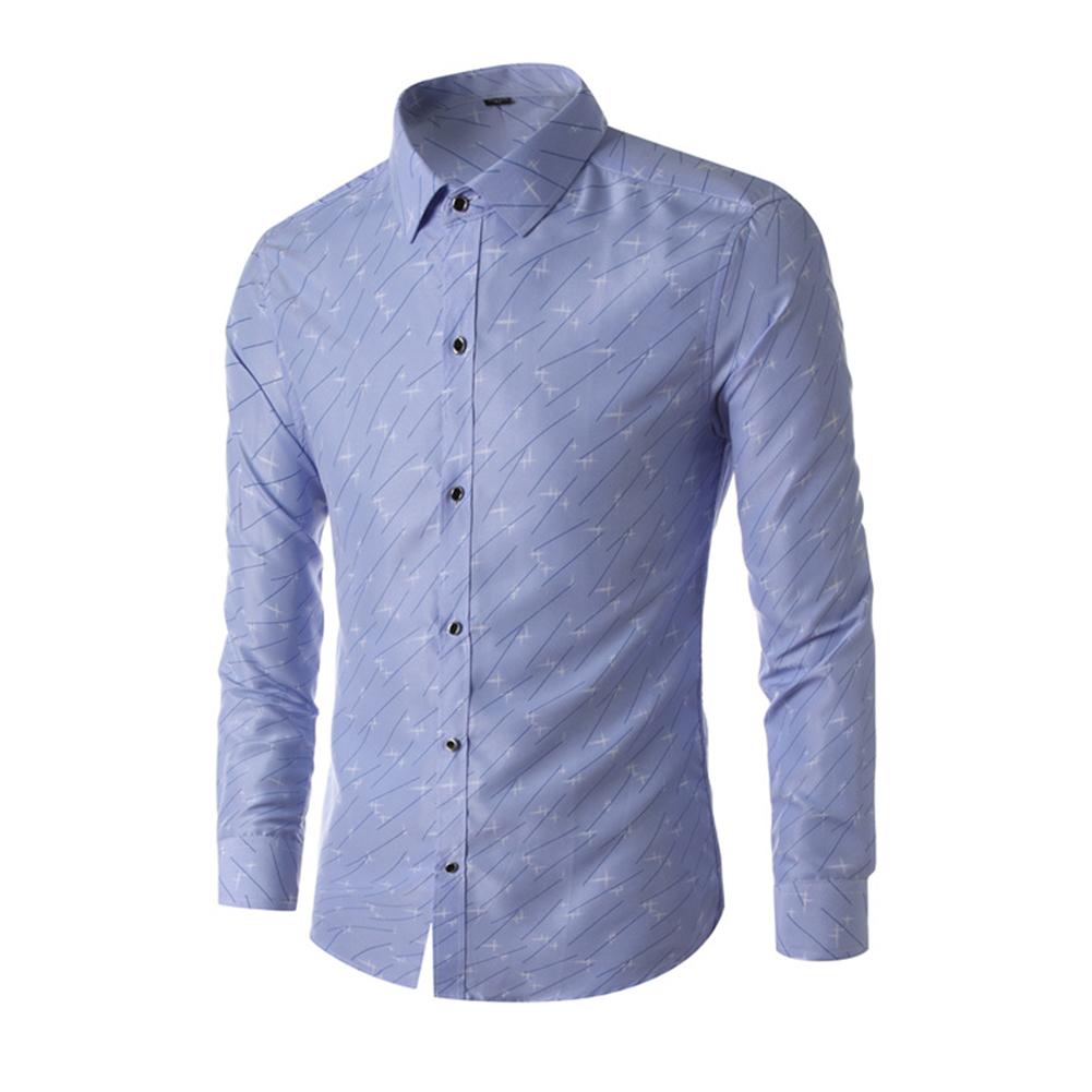Young Men Long-sleeve Shirt Love Printing Shirt Navy blue_L