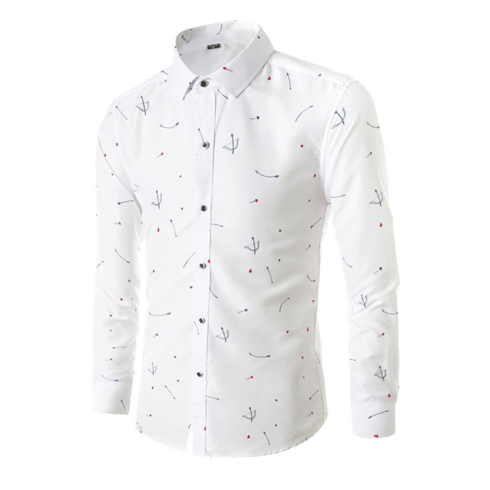 Young Men Long-sleeve Shirt Love Printing Shirt white_2XL