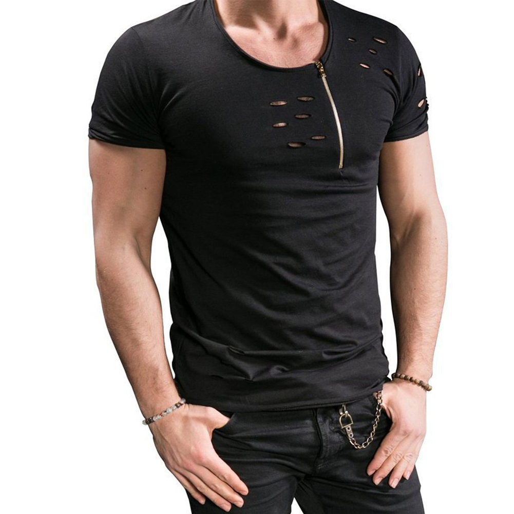 Men Slim Fit O-Neck Ripped Short Sleeve Muscle Tee T-shirt black_L