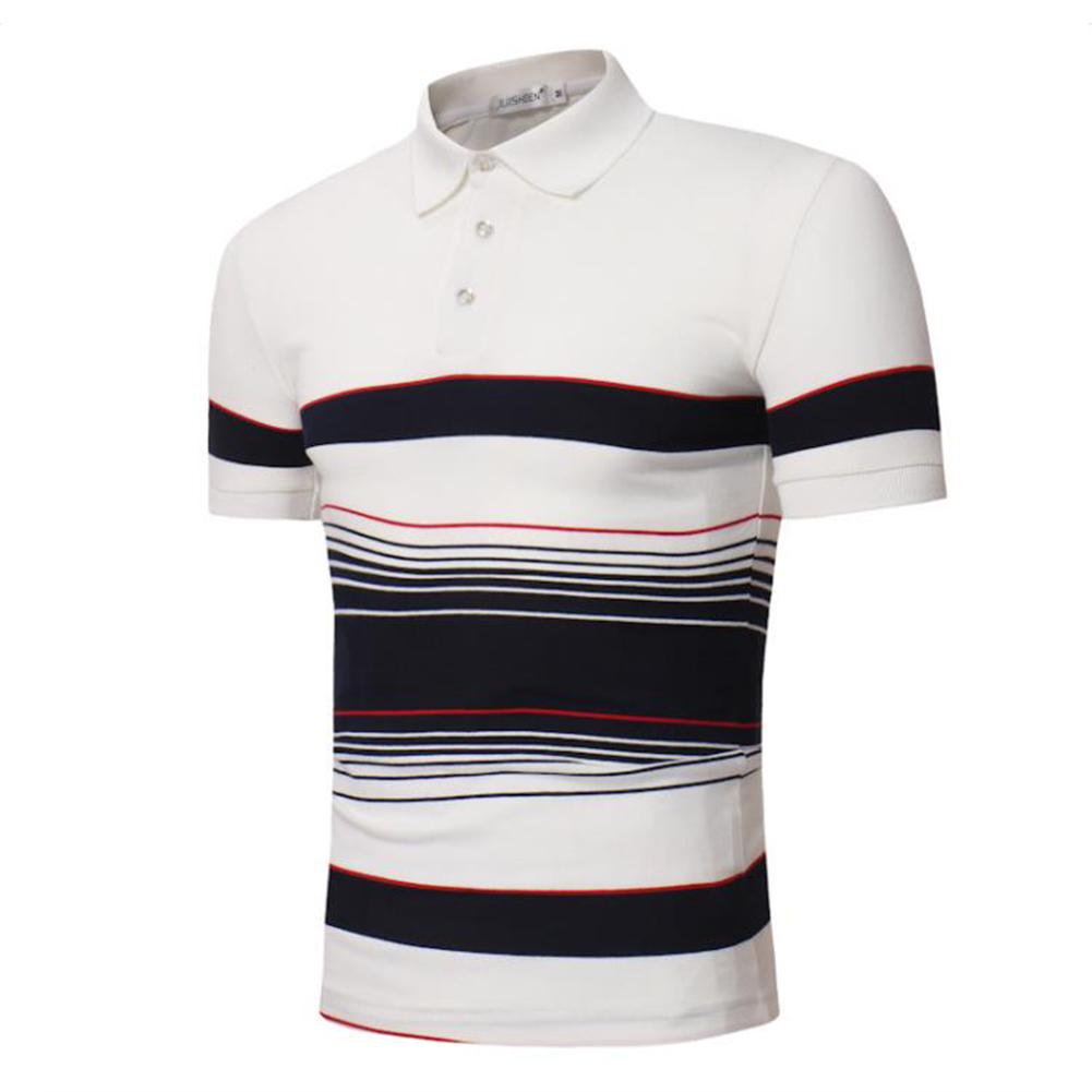 Men Stripes Shirts Slim Short Sleeve Fashion Thin Tops  white_M
