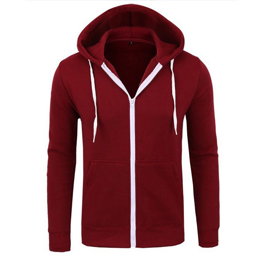 Men Warm Solid Color Zipper Slim Fleeced Hooded Sweatshirt wine red _L