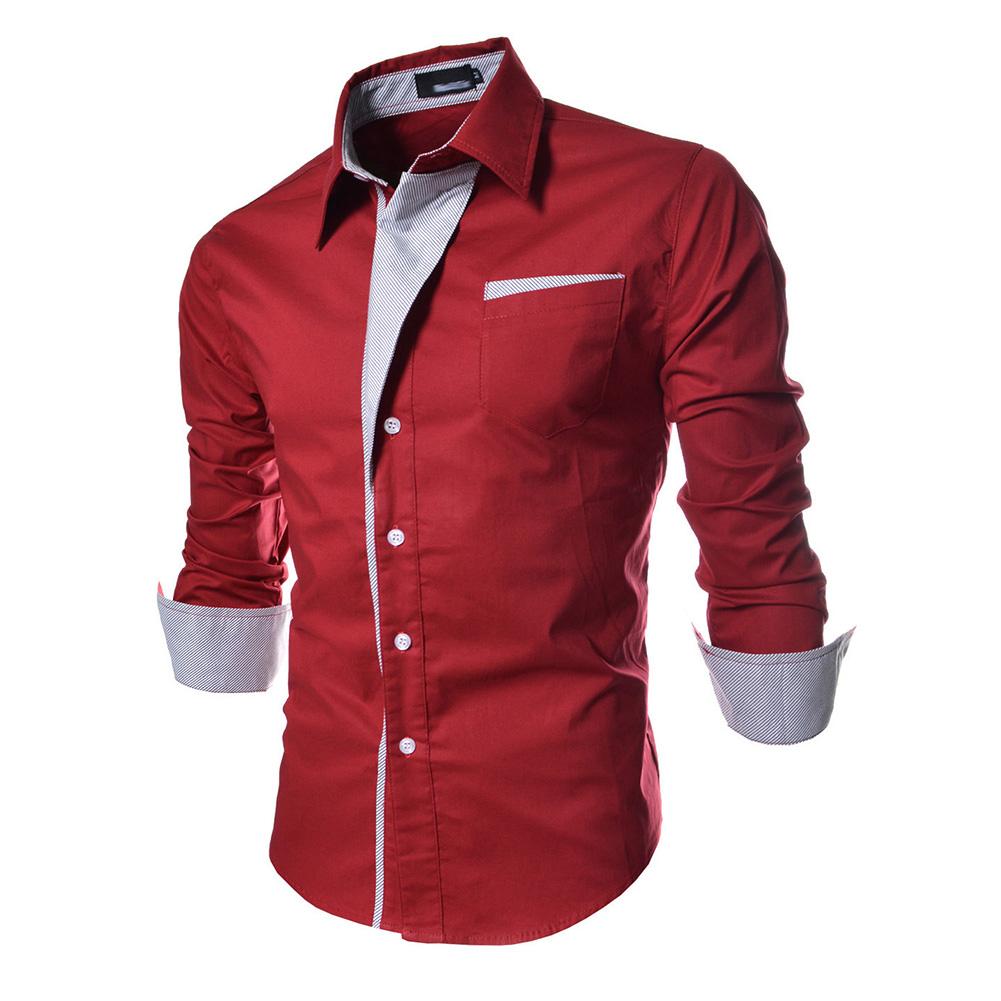 Men Fashion Stripe Pocket Decor Long Sleeve Shirtx red_XL