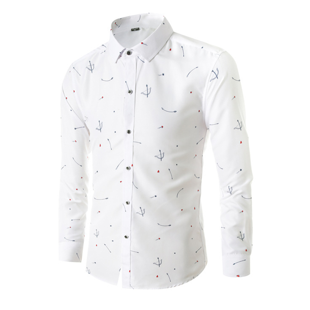 Young Men Long-sleeve Shirt Love Printing Shirt white_3XL