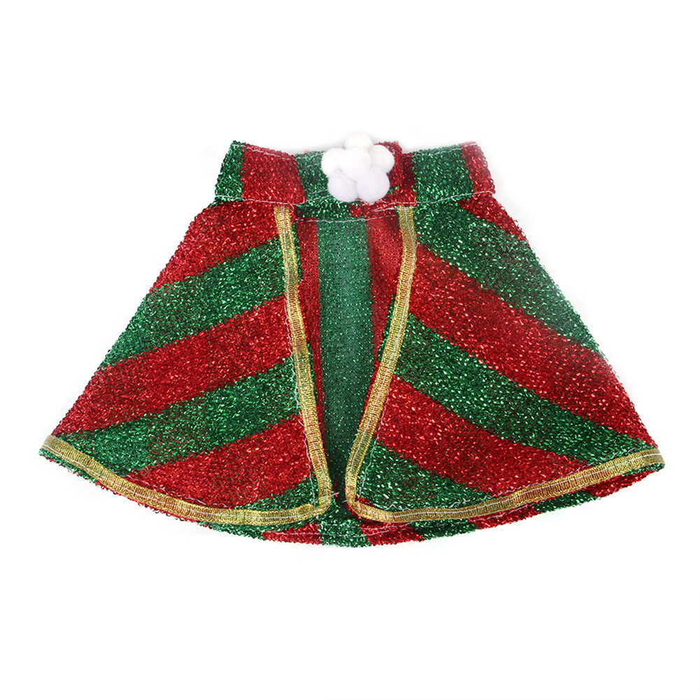 Halloween Christmas Pet Cape Cloak Puppy Cat Outfit Dress Up Coat Costume Red and green bars_S