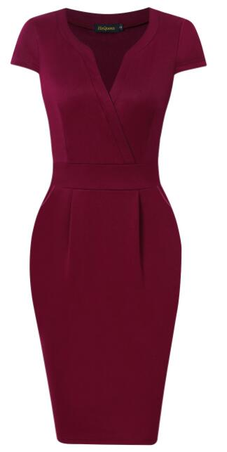 Women's V-collar Slim Waisted Dress
