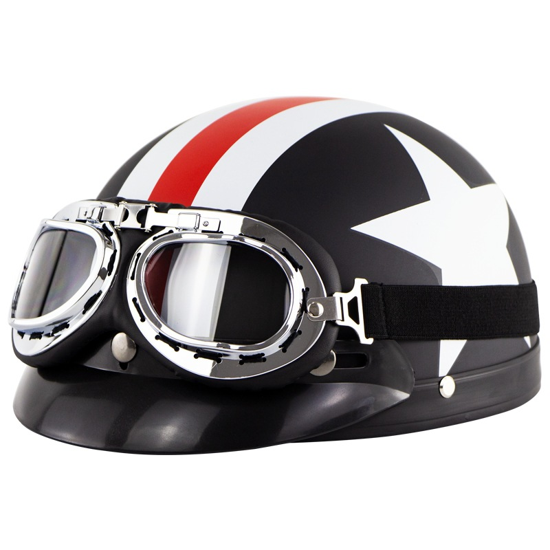 Retro Style Sunscreen  Helmet Half Helmet With Goggles For Motorcycle Electric Bike As shown