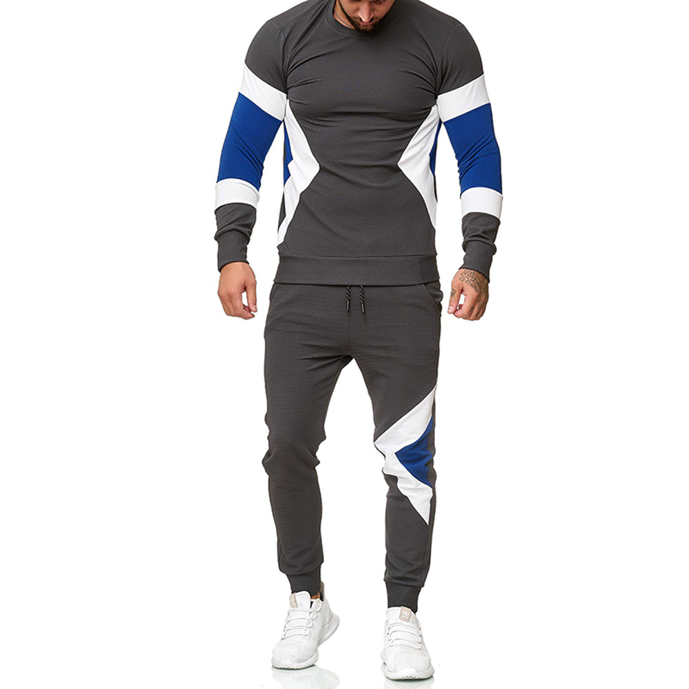 Autumn Contrast Color Sports Suits Slim Top+Drawstring Trouser for Man gray_L