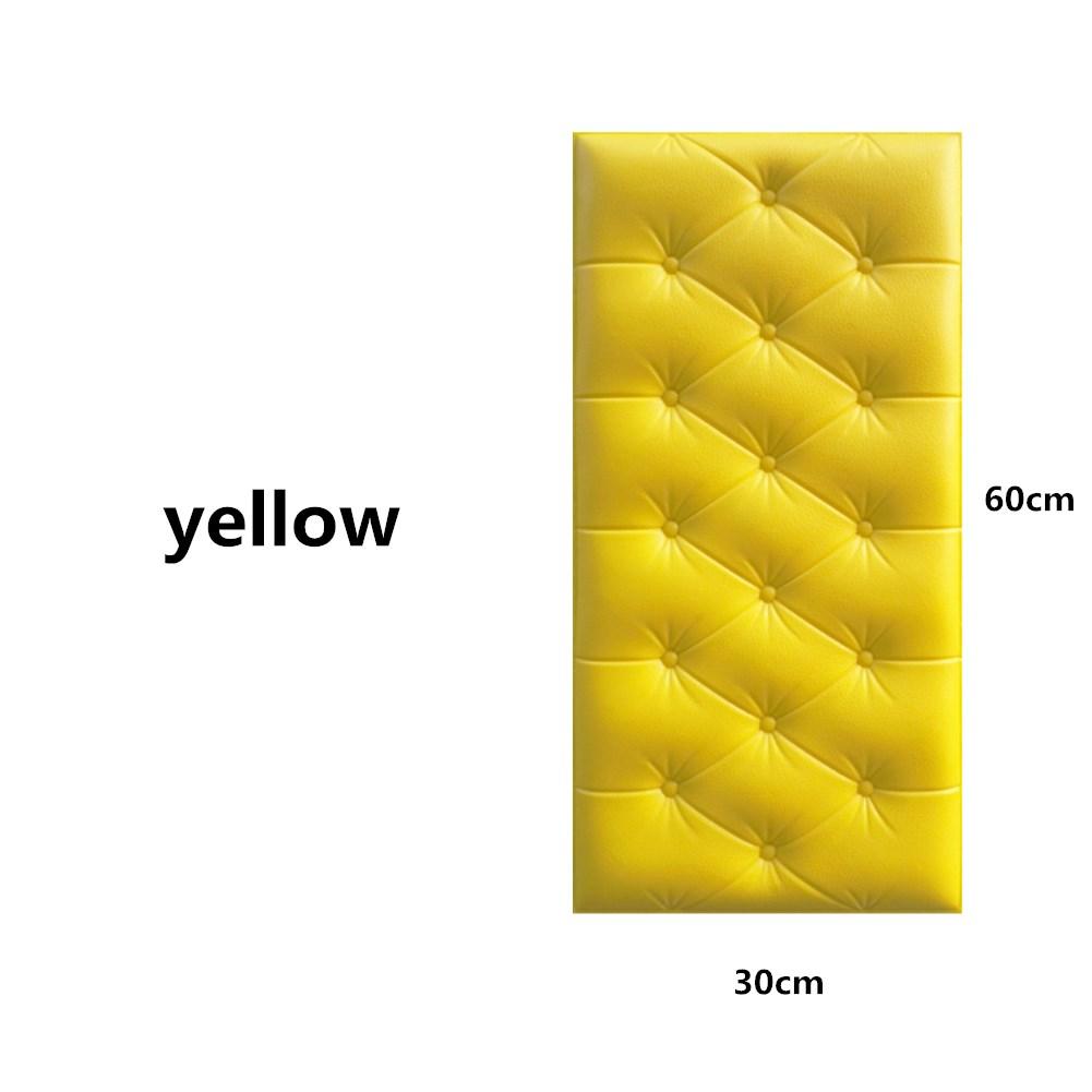 3D Foam Waterproof Self Adhesive Wallpaper for Living Room Bedroom Kids Room Nursery Home Decor yellow