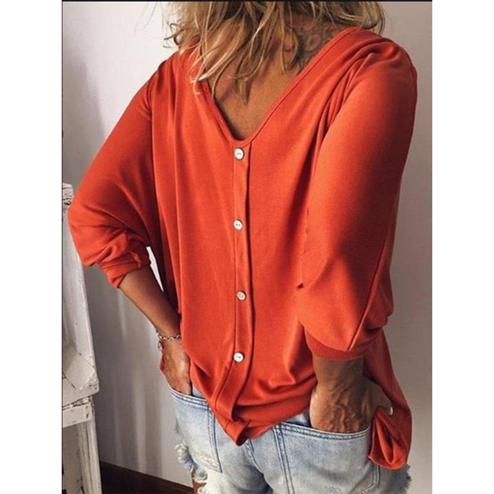 Women Summer Loose-sleeve V-collar T-shirt with Back Button Orange_L