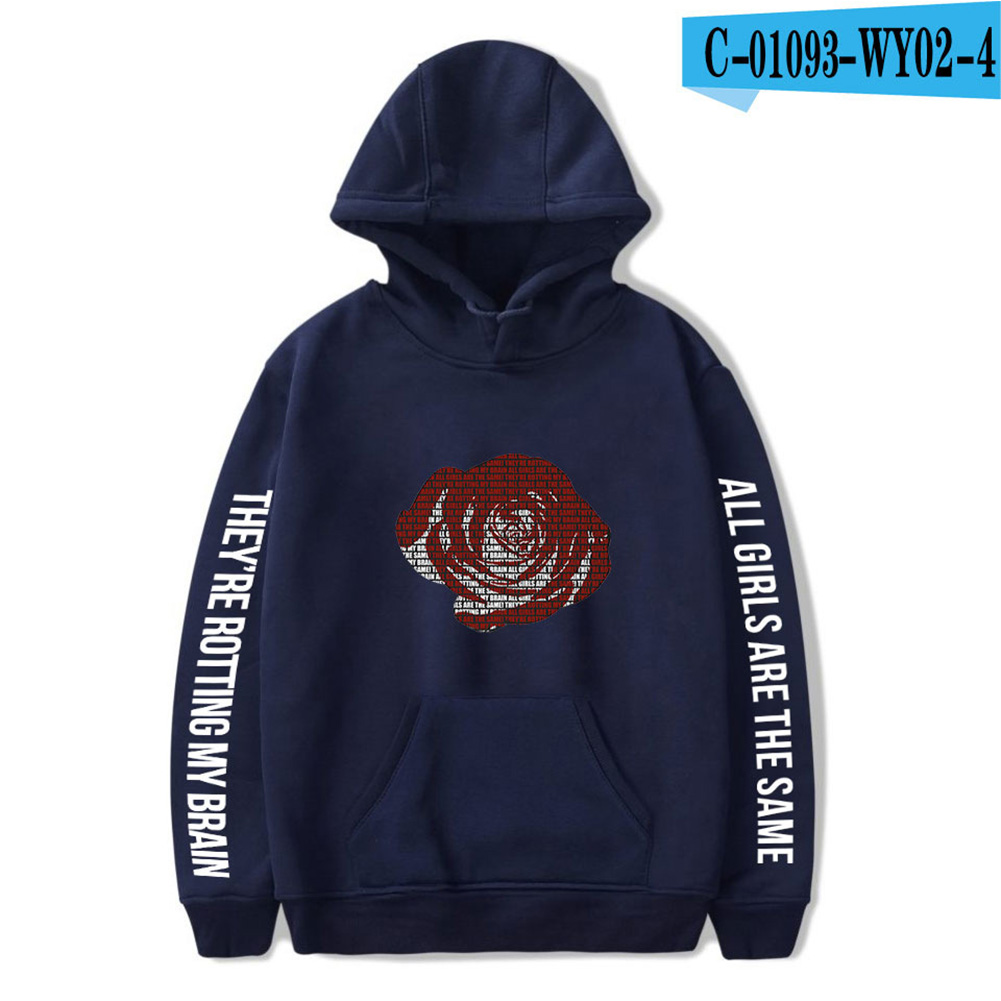 Men Women Hoodie Sweatshirt Juice WRLD Printing Letter Loose Autumn Winter Pullover Tops Navy blue_XXXL