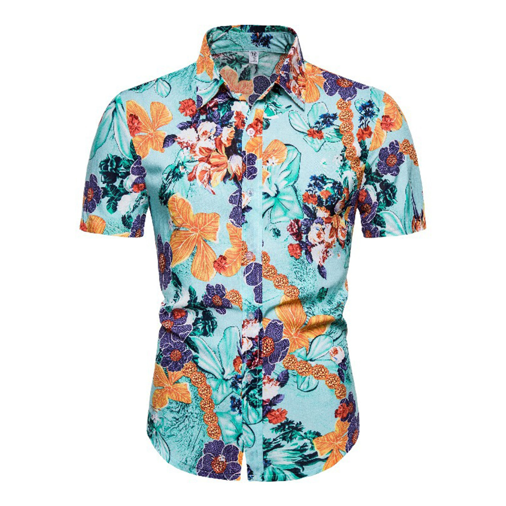 Hawaii Beach Wear Leisure Shirt of Short Sleeves and Turn-down Collar Casual Top for Man CS162_XL