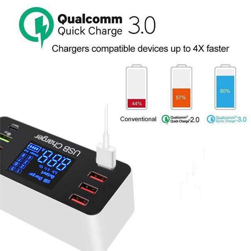 8 Port Multi Fast USB Charger Quick Charge 3.0 Multiple USB Phone Charging Station Universal USB HUB Charger QC 3.0 LED Display US plug