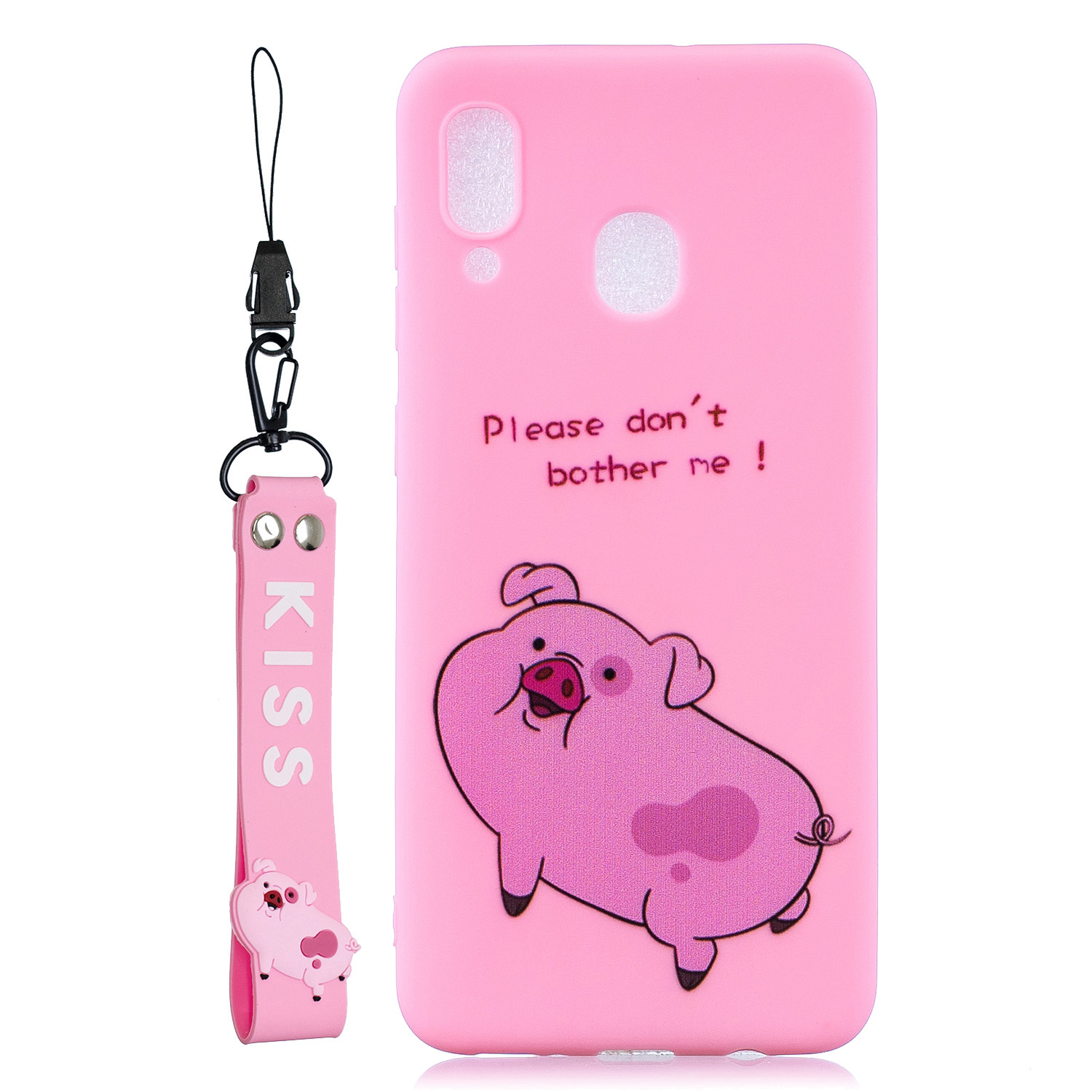 For Samsung M20 Cartoon Lovely Coloured Painted Soft TPU Back Cover Non-slip Shockproof Full Protective Case with Lanyard
