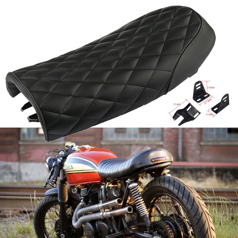 Motorcycle Cafe Racer Brat Flat Seat Hump Saddle For Honda for Yamaha Flat diamond black