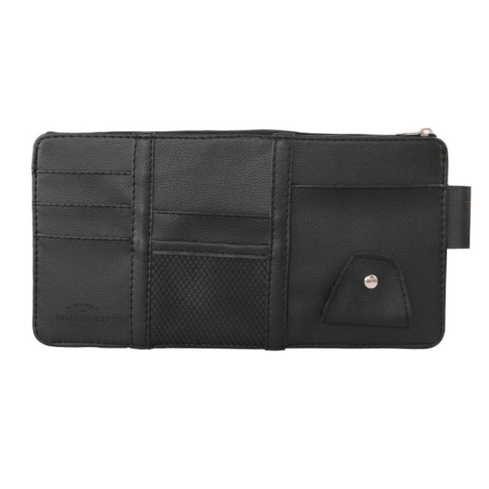 Car Sun Visor Organizer PU Fashion Multifunction PU Leather Storage Bag Pouch Card Sunglasses Holder Clip black