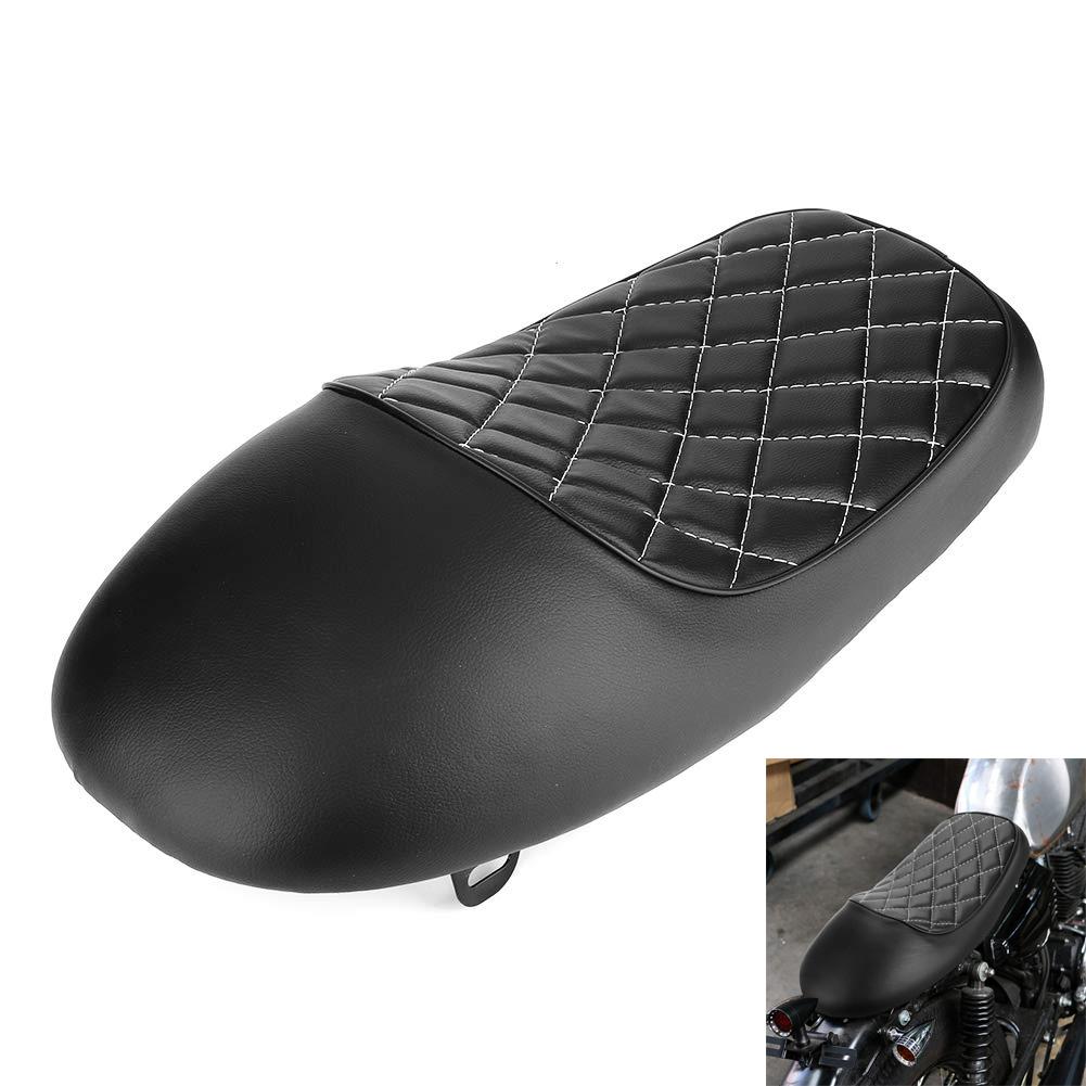 Motorcycle Leather Retro Vintage Saddle Seat Hump Leather Seats Cafe Racer Rhombic Shape Cushion For Honda for Yamaha black and white line