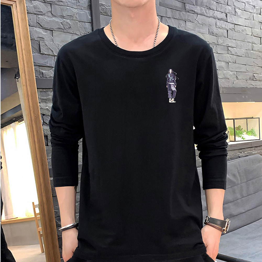 Male Casual Shirt of Long Sleeves and Round Neck Slim Top Pullover with Cartoon Pattern Decorated black_L