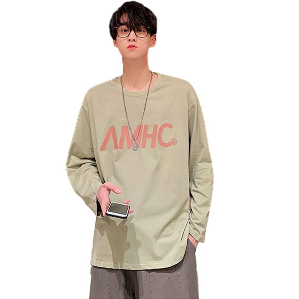 Men's T-shirt Spring and Autumn Long-sleeve Letter Printing Crew- Neck All-match Bottoming Shirt Green_L