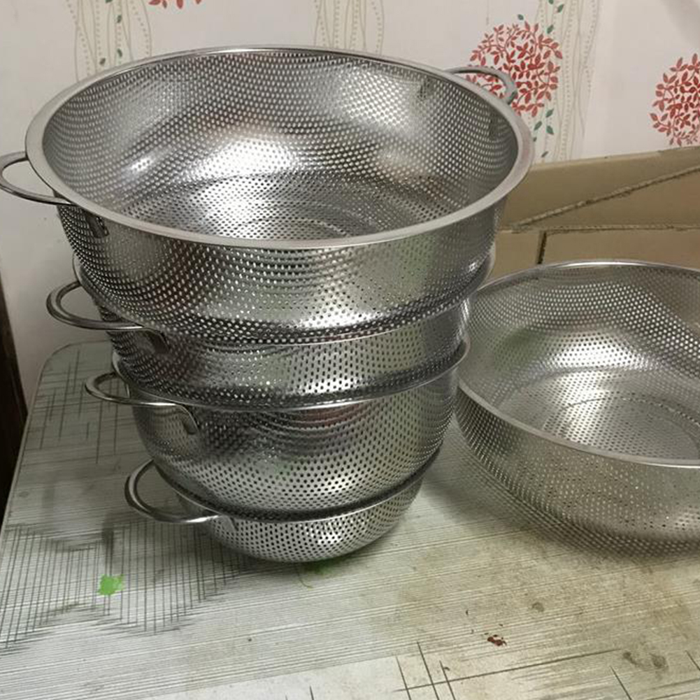 Multipurpose Fine Stainless Steel Single Ring/Binaural Drain Basket for Vegetables Washing 28.5CM_Binaural