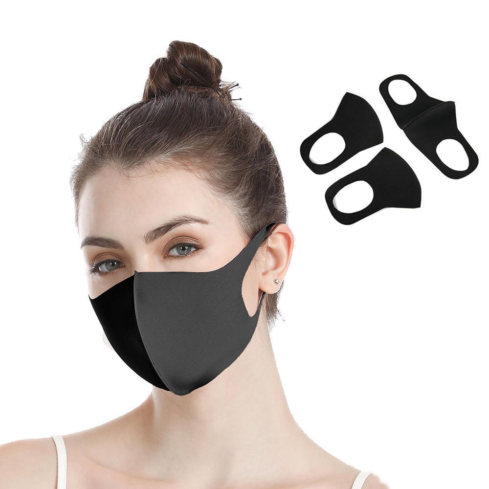 Adult Protective Mask Droplets Resistant PET Breathable Anti-fog Double Sided Mask Black