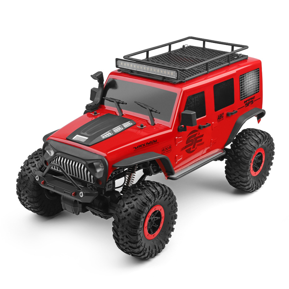 Wltoys 104311 1/10 2.4G 4x4 Crawler RC Car Desert Mountain Rock Vehicle Models With 2 Motors LED Head Light red_2 batteries
