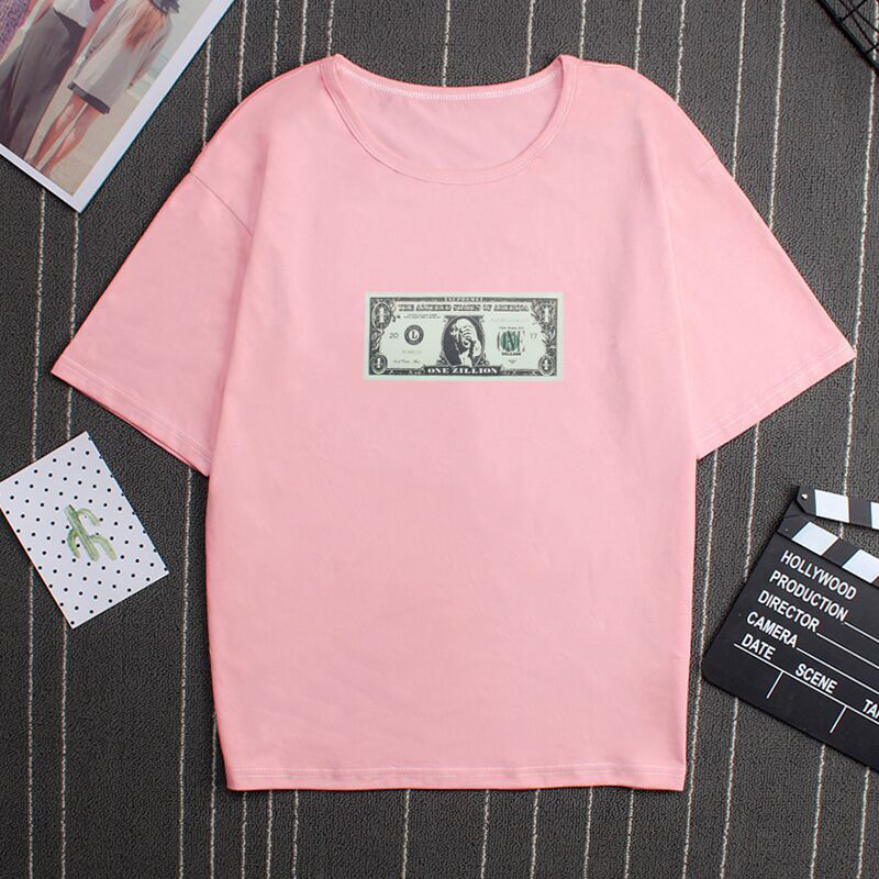 Unisex Casual Cartoon Letters Printing Round Collar T-shirt for Summer