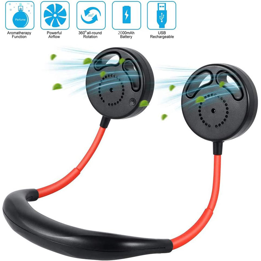 Hanging Neck Sports Fan Hands Free USB Rechargeable Wearable Neckband Fan for Outdoor Office  Red black